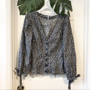 New Free People Smocked Button Down Top